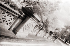 Park Bridge (Jamie Powell Sheppard) Tags: park bridge blackandwhite bw art film architecture ir photo kentucky fineart grain louisville canonae1program sepiatone coping cherokeepark 50mmlens 35mmslr femalephotographer hc110dilb woodeffect 29darkredfilter kodakhiebwinfrared