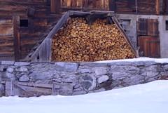Holz-Vorrat (Alfesto) Tags: wood schnee winter snow schweiz switzerland swiss stall holz münster scheune goms kantonwallis