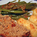 Meatloaf, Green Beans and Potato Croquettes