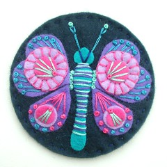 FELT BUTTERFLY BROOCH (APPLIQUE-designedbyjane) Tags: pink butterfly purple embroidery brooch felt