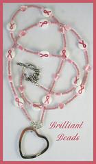 Pink Ribbon Breast Cancer Awareness Beaded Lanyard (Gillianbeads) Tags: pink canada heart id jewelry ribbon awareness breastcancer lanyard