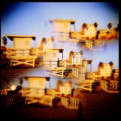 Oasis (roostercoupon) Tags: ocean california ca venice color tower 120 6x6 film beach glass square lens toy la losangeles holga lomo sand image kodak slide lifeguard plastic hut filter transparency multiple medium format split trippy e6 vignette e200 diffuse 120n