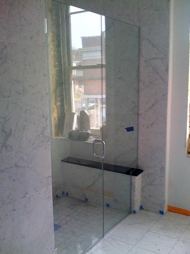 Shower door installed