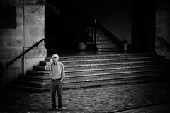 Phone-Light (Philipp Klinger Photography) Tags: street city light people bw white man black stairs handy island islands hall spain nikon europe phone cell espana sw mallorca spanien soller balearic d300 balears illes