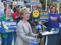 Donna Gerber speaks at a 2006 WakeupWalmart event. She was the government affairs director for the California Nurses Association and a former Contra Costa County supervisor.