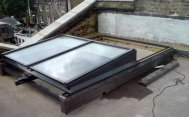 BRCN-579-14b - Fully Retracting  Single Pitch Retracting Glazed Rooflight For Roof Garden Access
