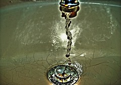Hard Water (JeahFree) Tags: water photoshop dramatic olympus flowing hdr cracked bathroomsink chromeeffect e410