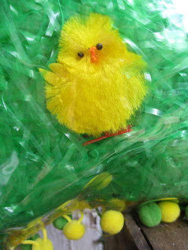Detail of Easter chicks pillow