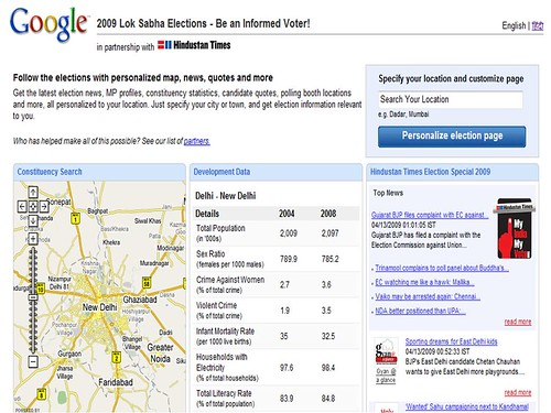 Google/ Hindustan Times 2009 Indian Lok Sabha Elections Page
