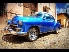The blue car (Kaj Bjurman) Tags: street desktop blue summer wallpaper white classic car canon eos top cuba large vivid american trinidad 5d hdr kaj signed cs4 photomatix bjurman