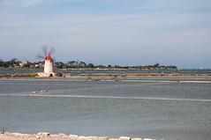 Salt evaporation ponds and salt mills near Trapani (Tschechoslowakische Ausschussware) Tags: italien italy mill bike bicycle italia salt sicily saline fahrrad sicilia trapani sizilien saltevaporationpond
