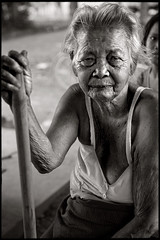 The old lady (••fly••) Tags: blackandwhite woman thailand asia farmer isaan ••fly•• simonkolton