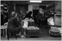 Market conversation (Yubai K) Tags: street old people blackandwhite streets shop lady last corner living asia mood loneliness shadows market decay district taiwan stall taipei   streetphotos  nikond80