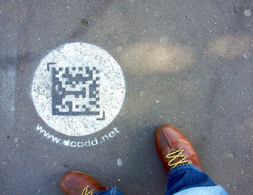 QR code on the sidewalk