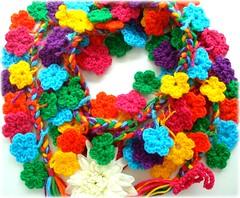 Cordão encantado, um cachecol (Lidia Luz) Tags: flower scarf handmade crochet flor cordão cachecol crochê lidialuz