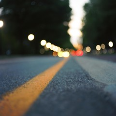 Road and Lights (Inside_man) Tags: trees 120 6x6 mamiya tlr c220 film colors mediumformat streetlight colorful bokeh dusk headlight asphalt taillight yellowpaint portravc hbw bokehlicious roadandlights