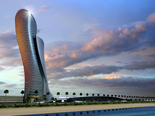 RMJMs Capital Gate tower in Abu Dhabi will lean more than the Tower of Pisa. (Images courtesy RMJM)