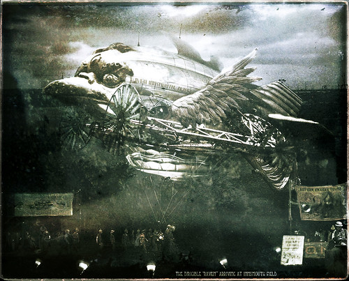 "Vintage Photo: The Dirigible ""Raven"" Arrives at Innsmouth Field"