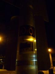 Stickers Unlit (liquidnight) Tags: seattle streetart bird dark stickers owl sn ovo unlit ephemeralart slightlynorth