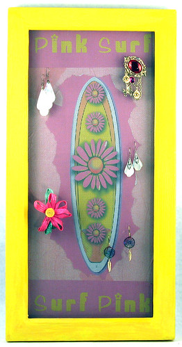 Pink Surf Earring Holder -2