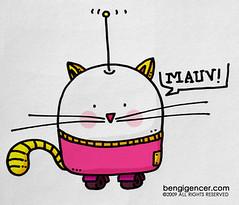 my robocat (bengi gencer) Tags: pink cute moleskine yellow illustration cat robot tail