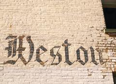 WESTON (FotoEdge) Tags: usa brick sign town mainstreet painted ghost 19thcentury missouri handpainted weathered moisture weston missouririver ghostsign fotoedge