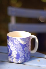 Join me for a coffee in the spring sunshine? (onceawildchild) Tags: blue coffee scotland spring may mug 2010 inmygarden
