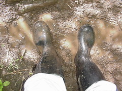 Wellies, trackies .... and MUD! - 7 (DONNYB-UK) Tags: black mud boots rubber nora wellies muddy wellingtons trackies reebok