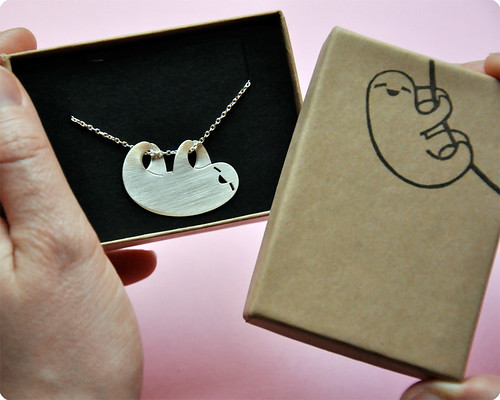 Wonderful happy sloth necklace by marymaryhandmade