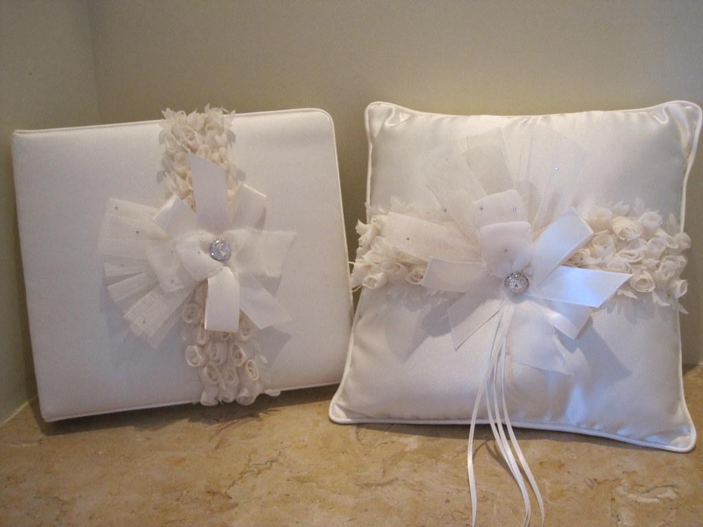 romantic couture ringbearer pillow, flowergirl basket, guestbook, garter