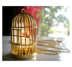 This Bird Has Flown Necklace in Gold (belaluna.etsy.com) Tags: birthday bird birdcage silver mom for fly team flight feather cage jewelry swing her gift flown etsyrain