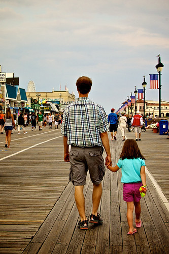 Walking together on the boardwalk.