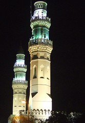 The two minarets (Madiha...) Tags: night pillar mosque illuminated handheld saudiarabia minarets islamicarchitecture madinah minars masjidquba  islamsfirstmosque prophetmuhammadsaw