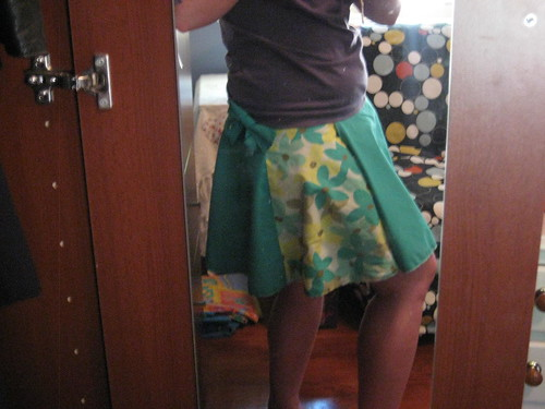 Green Floral Wrap Skirt 4
