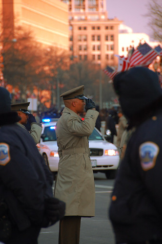 Howard_Marine Saluting Motorcade