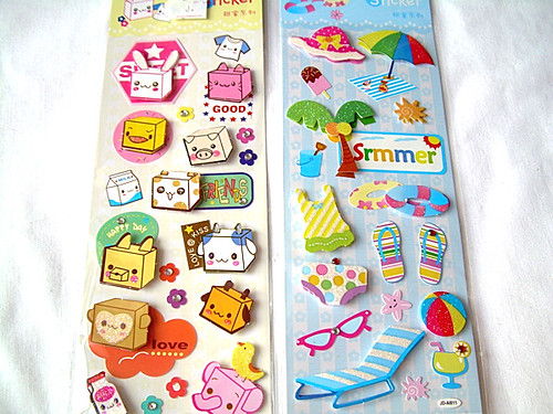 very cute sticker square funny face cartoon and holiday beach summer
