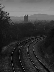 Train to Worcester (BaldyD) Tags: uk england blackandwhite lines train track cityscape view cathedral unitedkingdom britain tracks rail railway olympus norton spire rails worcestershire curve westmidlands worcester e510 worcestercathedral networkrail davefletcher baldyd sigma70300f1456nikonfit