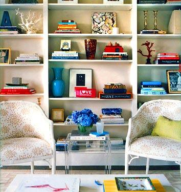 Colorful bookcase display + white living room,house, interior, interior design