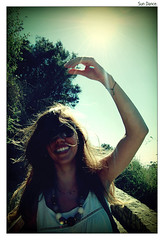 Sundance.. (ADIDA FALLEN ANGEL) Tags: ocean trees sea portrait sky woman sun blur girl beautiful beauty smile sunshine sunglasses smiling hair lens israel telaviv dance saturated model nikon shine dancing horizon profile happiness jaffa east flare zion express middle sunrays hadar dardar d40 vftw top20telaviv