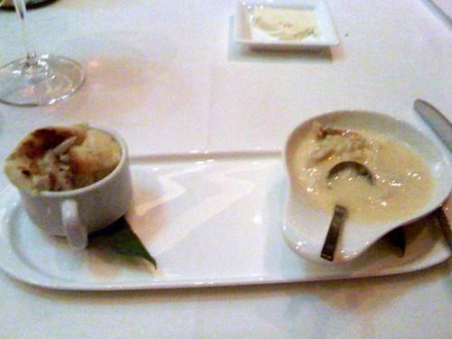 black pepper-parmesan souffle with crab fondue