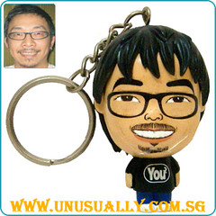 Custom Key Ring Black Mini Big Head Doll