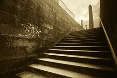 Necropolis in Edinburgh (Semi-detached) Tags: street light white black monochrome grave graveyard station wall stairs scotland edinburgh grafitti place hill tom