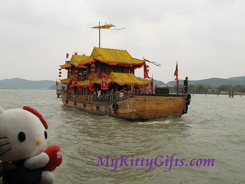 Hello Kitty Enjoying Battleship Tour in Three Kingdoms City, Wuxi