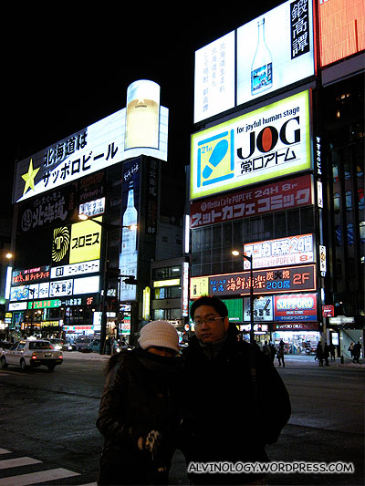 Checking out the streets of Sapporo
