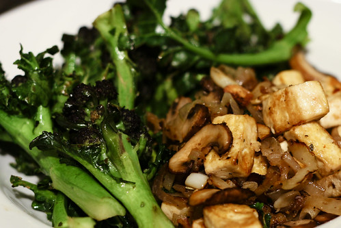 Pan-fried Tofu and Mushrooms with Purple Sprouting Broccoli