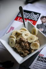 Bircher Muesli with Bananas and TimeOut London (monica.shaw) Tags: food fruit breakfast nuts raisins bananas almonds apples timeout rawfood muesli fooddiary bircher
