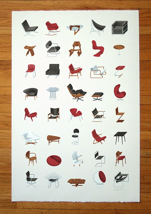 MidCentury Modern Furniture Poster by J Provost The MidCentury