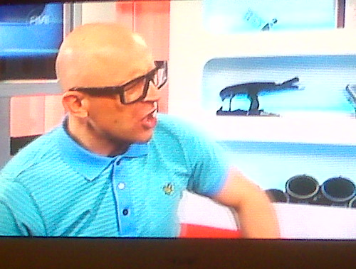 Jason Bradbury in Mykita on Television, The Gadget Show on Chanel 5