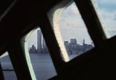 gm_13426 Statue of Liberty, Crown view of Manhattan 1976 (CanadaGood) Tags: usa newyork ny statueofliberty analog nyc 1976 slidefilm newyorkcity america agfaperuchrome newjersey nj slidecube color colour building canadagood seventies worldtradecenter wtc
