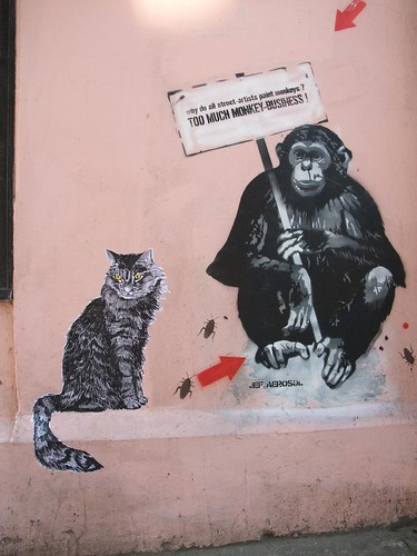 Surianii kitty joins Jef Aerosol: London street art
